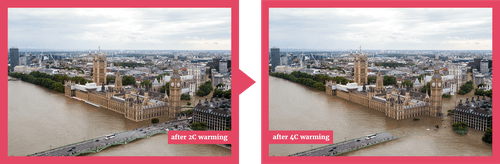 A view of London at 2 degrees and 4 degrees of warming